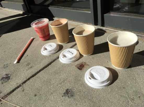 Several students are unaware that the Student Center sells a variety of hot drinks: (from right to left) vanilla swirl, caramel swirl, and hot chocolate.
