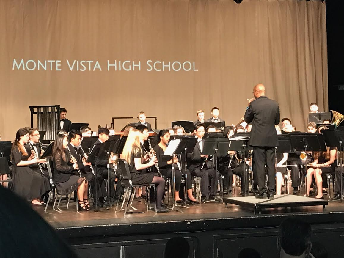 Monte Vista's Wind Ensemble and Drumline play at the Area Band Festival. Instrumental teacher Ed Cloyd conducted members as elementary and middle schoolers joined them. (Courtesy of Ayra Moin)