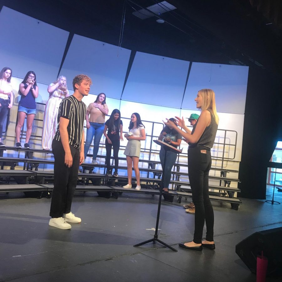 Neisinger prepares students for their upcoming concert. This is the first year that this alumni is teaching here at Monte Vista.
