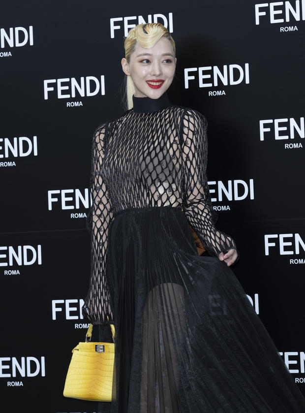 Sulli attends Fendi's opening event in Seoul, South Korea, on September 3, 2019. She was found dead inside of her home by her manager on October 14, 2019.