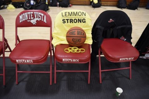 "A basketball and ""Lemmon Strong"" shirt sit on one of the coaching chairs. In this way, Monte Vista women's varsity basketball team honors Coach Lemmon, who died after battling cancer for several months."