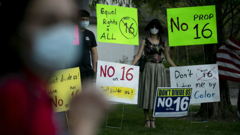 On Oct. 16, 2020, demonstrators gathered in Walnut Creek to protest against Proposition 16. Demonstrators often oppose Prop. 16 due to its underlying augmentation of racial division.