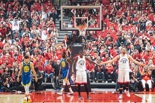 The scene of the last NBA Finals, Toronto Raptors vs Golden State Warriors, with fans in attendance in 2019. This would be the last playoff series with fans to date still.