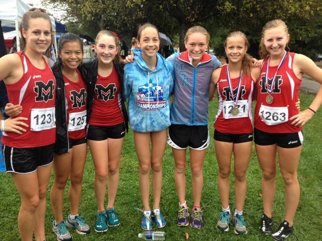 The girls varsity after their race at the Nike invitational. The girls ran three miles in the mud and pouring ran.