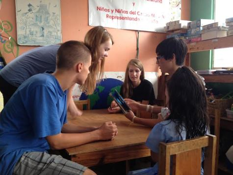 David Barlett, Dana Hensler, Chloe Celniker, and Adam Lee interact with children at a preschool. This was just one of the places where MV students were able to give back to the local community.
