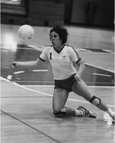 Sophomore year at Stanford Jenyth (JJ) Utchen is playing Middle in the back row.  Her ankle was protected by countless amounts of tape each time she stepped on the court.  Even after she hurt her ankle the year before, Utchen continued to play.