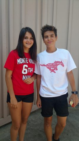 Foreign exchange student, Aleix Ciurana, poses with his host sister, sophomore Francesca Jofre.