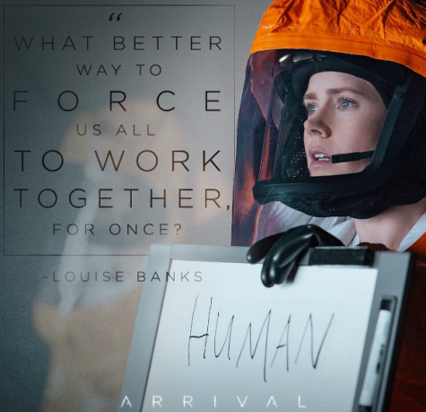 Louise, played by Amy Adams, holds up a sign reading human to the heptapods. This film, The Arrival, was released in theaters on November 11th. (Courtesy of Arrival Instagram)