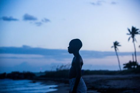 Chiron, the protagonist, stands in front of the ocean in home town of Miami in the movie, Moonlight.