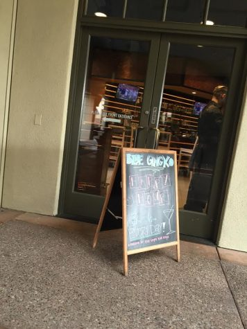 Entrance at Blue Gingko, a Japanese restaurant in the Blackhawk Plaza, with a chalkboard boasting the daily specials.