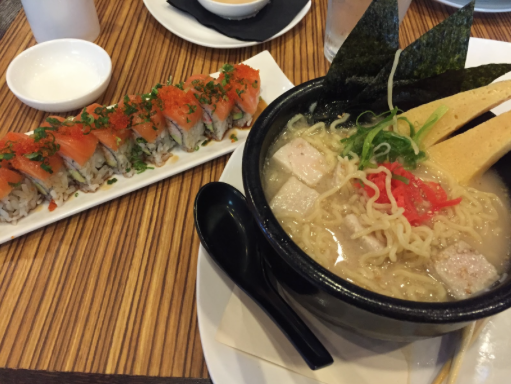 8 piece Golden Gate roll, with bowl of pork belly ramen.  (Courtesy of Randall Dobkin)