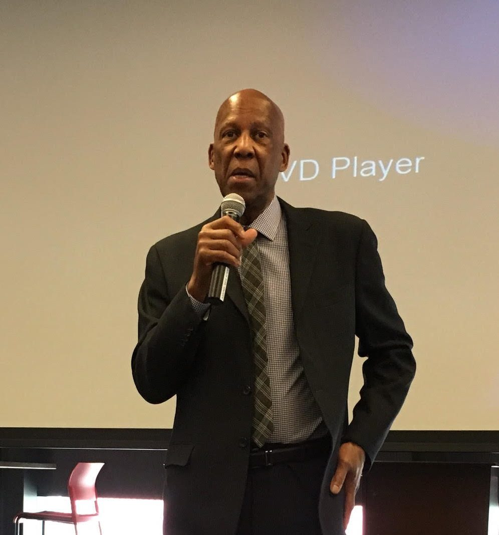 Terrence Roberts speaks to students from around the district. He was a member of the Little Rock Nine who were the first African Americans to go to an all white high school in Arkansas.
