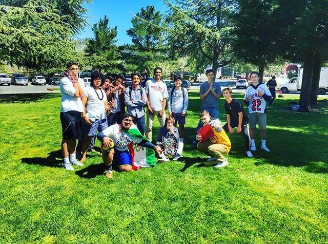 Various members of the Persian club gather for group a photo following their soccer game played during lunch at the horseshoe.