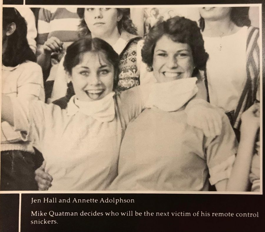 Jennifer Hall (left) and her friend Annette Adolphson (right) pose for a picture during a rally at Monte Vista High School. The two of them graduated at Monte Vista in 1984.