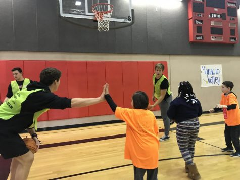 Monte Vista Special Olympics club members and leadership students teach special needs students basketball skills in the school's 12th year hosting. The event included a basketball tournament and skills section.