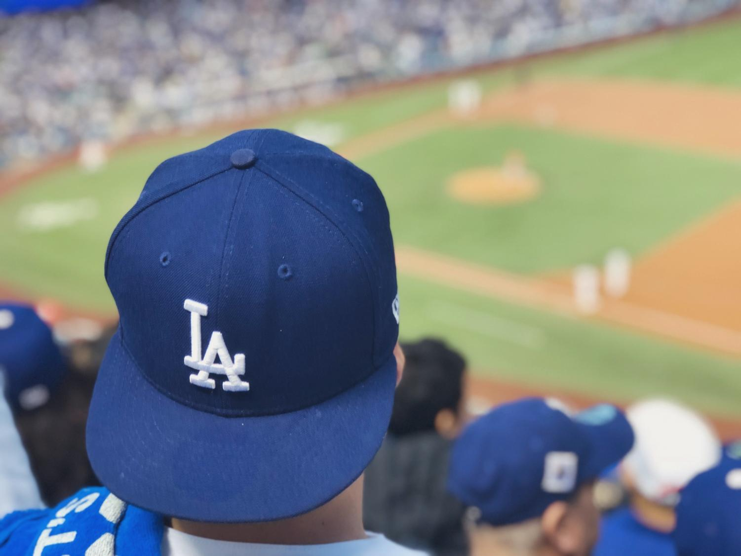 A fan shows his support for the Los Angeles Dodgers.