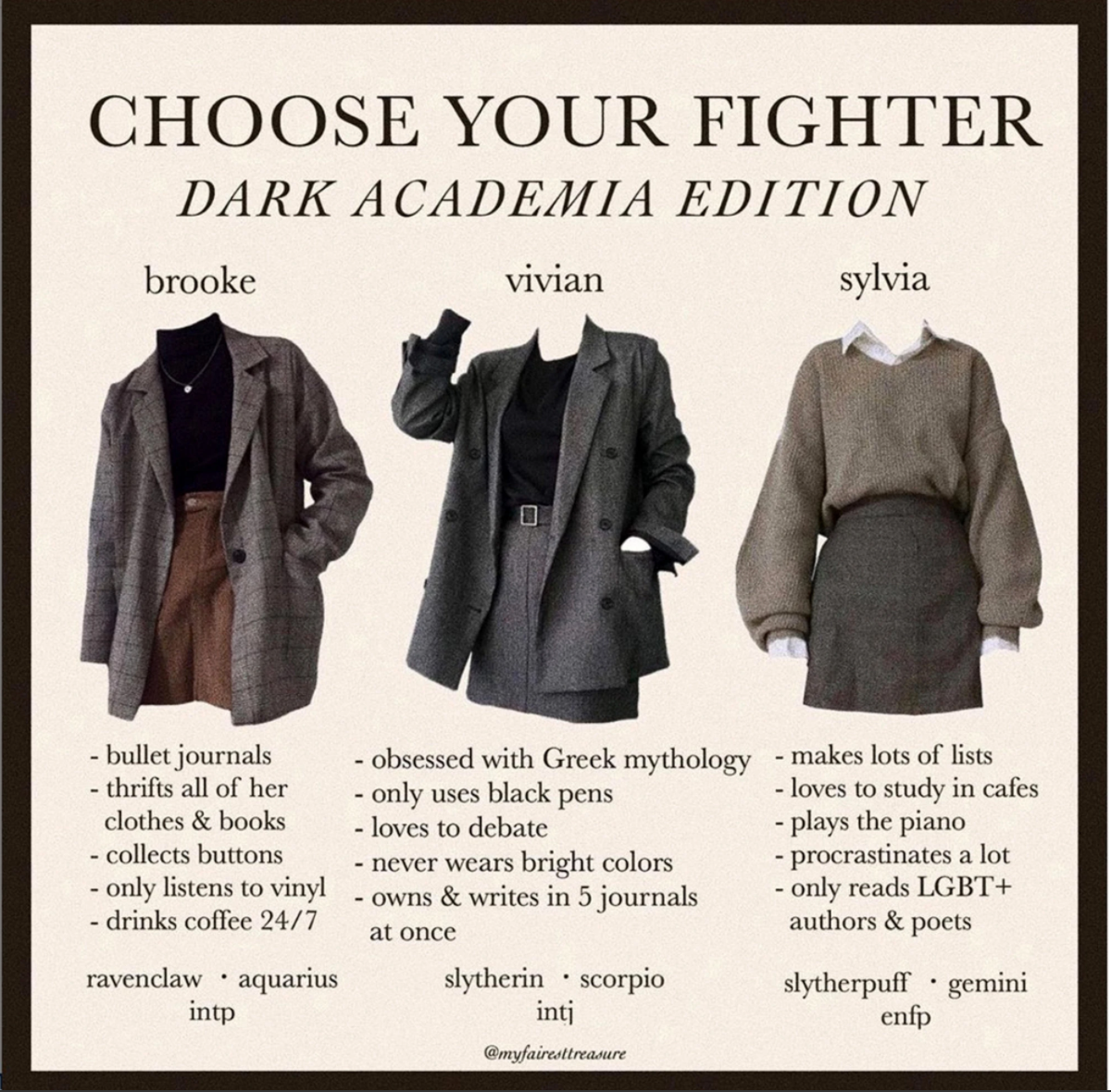 Many Dark Academia posts are similar to the one above, depicting Instagram posts like lookbooks, book recommendations, and guides to the popular aesthetic. Dark Academia social media accounts are found most prevalently on Instagram and Tumblr.