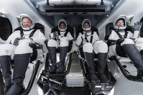 The Inspiration4 crew ready for launch. From left to right: Chris Sembroski, Sian Proctor, Jared Isaacman, and Hayley Arceneaux