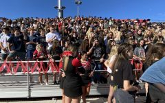 Monte Vista Class of 2024 are in the bleachers at a Monte Vista High School rally. They were experiencing their first homecoming rally and this is only their second rally since they've been at Monte Vista due to the pandemic temporarily shutting down in-person schools.