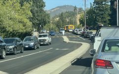 Students, parents, and staff sit in traffic outside of Monte Vista High School on Sept. 17, 2021. The recent increase in traffic, especially on odd block days, has been assoiacted with the odd-even block schedule new to the 2021-22 school year.